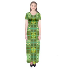 Mod Yellow Green Squares Pattern Short Sleeve Maxi Dress