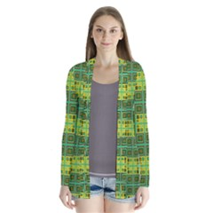 Mod Yellow Green Squares Pattern Drape Collar Cardigan