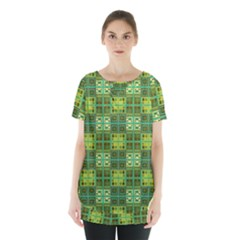 Mod Yellow Green Squares Pattern Skirt Hem Sports Top