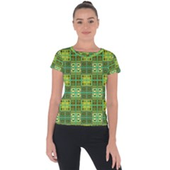 Mod Yellow Green Squares Pattern Short Sleeve Sports Top