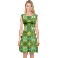 Mod Yellow Green Squares Pattern Capsleeve Midi Dress
