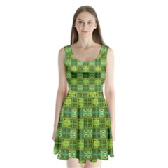 Mod Yellow Green Squares Pattern Split Back Mini Dress