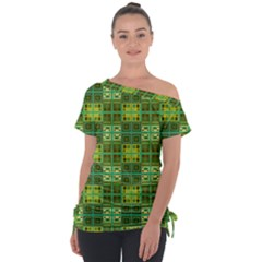 Mod Yellow Green Squares Pattern Tie Up Tee