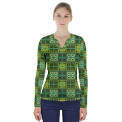 Mod Yellow Green Squares Pattern V Neck Long Sleeve Top