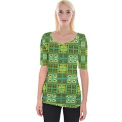 Mod Yellow Green Squares Pattern Wide Neckline Tee