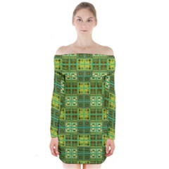 Mod Yellow Green Squares Pattern Long Sleeve Off Shoulder Dress