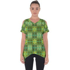 Mod Yellow Green Squares Pattern Cut Out Side Drop Tee