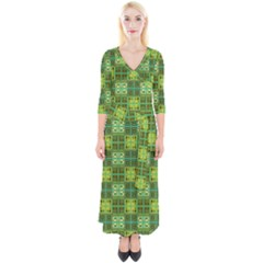 Mod Yellow Green Squares Pattern Quarter Sleeve Wrap Maxi Dress