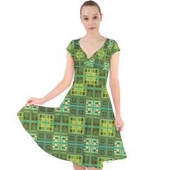 Mod Yellow Green Squares Pattern Cap Sleeve Front Wrap Midi Dress