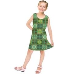 Mod Yellow Green Squares Pattern Kids  Tunic Dress