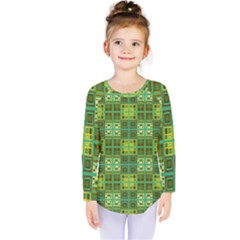 Mod Yellow Green Squares Pattern Kids  Long Sleeve Tee