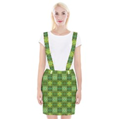 Mod Yellow Green Squares Pattern Braces Suspender Skirt