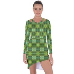 Mod Yellow Green Squares Pattern Asymmetric Cut Out Shift Dress
