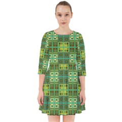 Mod Yellow Green Squares Pattern Smock Dress