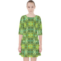 Mod Yellow Green Squares Pattern Pocket Dress