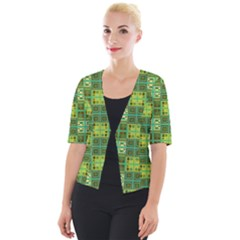 Mod Yellow Green Squares Pattern Cropped Button Cardigan