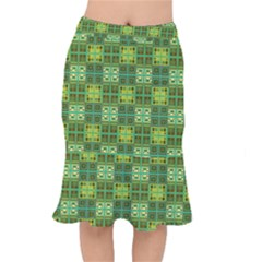 Mod Yellow Green Squares Pattern Mermaid Skirt