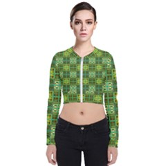 Mod Yellow Green Squares Pattern Zip Up Bomber Jacket