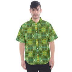 Mod Yellow Green Squares Pattern Men s Short Sleeve Shirt