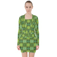 Mod Yellow Green Squares Pattern V Neck Bodycon Long Sleeve Dress