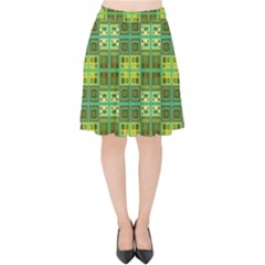 Mod Yellow Green Squares Pattern Velvet High Waist Skirt