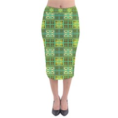 Mod Yellow Green Squares Pattern Velvet Midi Pencil Skirt
