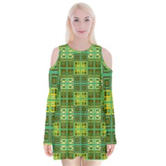 Mod Yellow Green Squares Pattern Velvet Long Sleeve Shoulder Cutout Dress