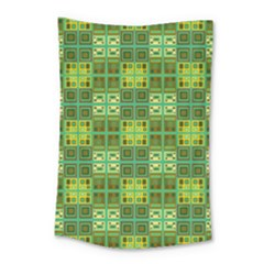 Mod Yellow Green Squares Pattern Small Tapestry