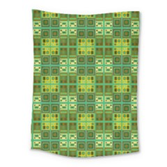 Mod Yellow Green Squares Pattern Medium Tapestry