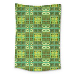 Mod Yellow Green Squares Pattern Large Tapestry