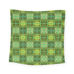 Mod Yellow Green Squares Pattern Square Tapestry (small)