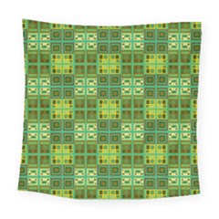 Mod Yellow Green Squares Pattern Square Tapestry (large)