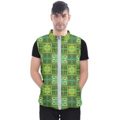 Mod Yellow Green Squares Pattern Men s Puffer Vest