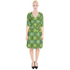 Mod Yellow Green Squares Pattern Wrap Up Cocktail Dress