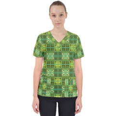 Mod Yellow Green Squares Pattern Women s V Neck Scrub Top