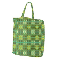 Mod Yellow Green Squares Pattern Giant Grocery Tote