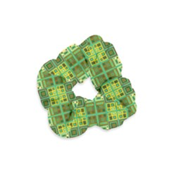 Mod Yellow Green Squares Pattern Velvet Scrunchie