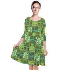 Mod Yellow Green Squares Pattern Quarter Sleeve Waist Band Dress
