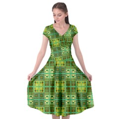 Mod Yellow Green Squares Pattern Cap Sleeve Wrap Front Dress