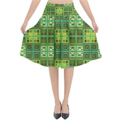Mod Yellow Green Squares Pattern Flared Midi Skirt