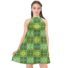 Mod Yellow Green Squares Pattern Halter Neckline Chiffon Dress