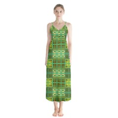 Mod Yellow Green Squares Pattern Button Up Chiffon Maxi Dress