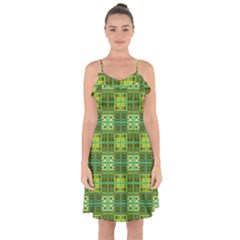 Mod Yellow Green Squares Pattern Ruffle Detail Chiffon Dress