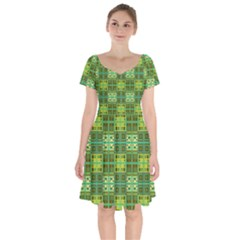 Mod Yellow Green Squares Pattern Short Sleeve Bardot Dress