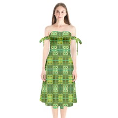 Mod Yellow Green Squares Pattern Shoulder Tie Bardot Midi Dress