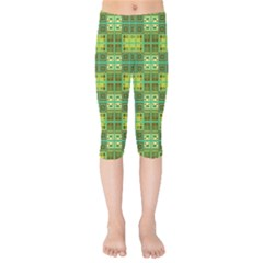 Mod Yellow Green Squares Pattern Kids  Capri Leggings