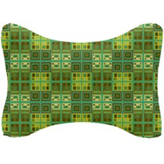 Mod Yellow Green Squares Pattern Seat Head Rest Cushion