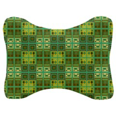 Mod Yellow Green Squares Pattern Velour Seat Head Rest Cushion