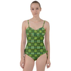 Mod Yellow Green Squares Pattern Sweetheart Tankini Set