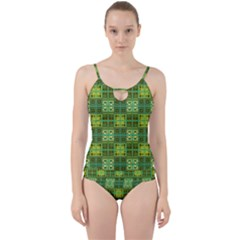 Mod Yellow Green Squares Pattern Cut Out Top Tankini Set
